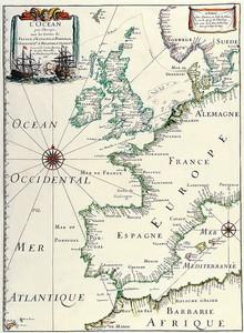 Старая карта с кусочком Европы