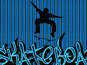 Skataboarding фон голубой 2