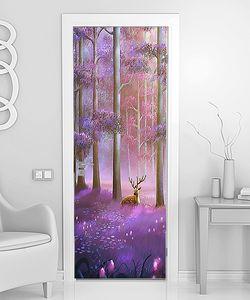 Олени в цветущем лиловом лесу
