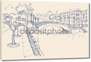 Вектор городского пейзажа. Дома на реке канал и мост