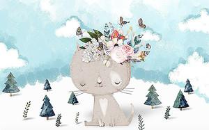 Котенок с цветами на голове
