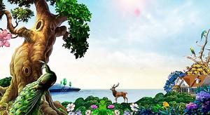 Сказочное дерево и дом у моря