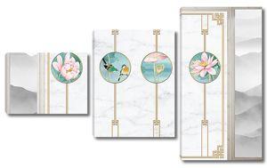 Цветы и птички в кружках