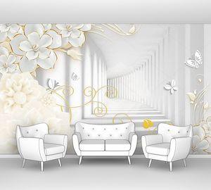 Бумажные цветы и бабочки в тоннеле
