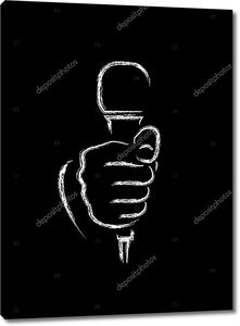 Мел, рисование от руки с микрофоном на черном фоне