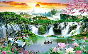 Японский пейзаж. Водопад