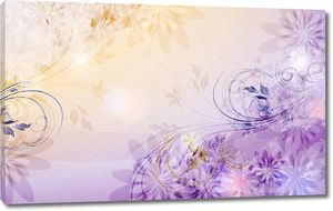 Бежевый фиолетовый фон, полупрозрачные бутоны