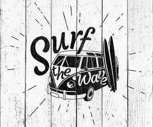 Ван серфинга ретро черно-белые иллюстрации