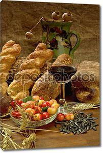 Натюрморт с хлебом, cherrys и вино