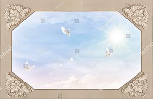 Три голубя в небе с узором