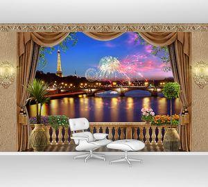 Ночной Париж с балкона