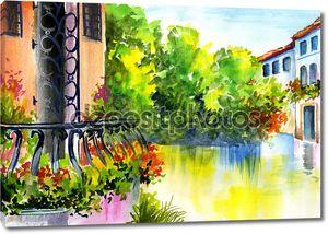 Акварельная живопись - цветы возле дома