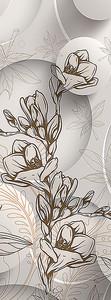 Контур цветка на фоне кругов
