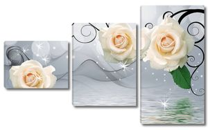 Большой бежевые розы, отражение в воде