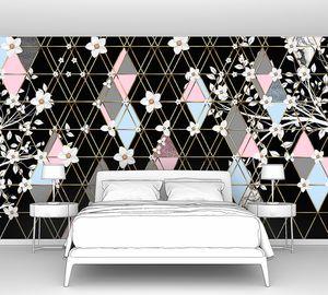 Triangle eden-Цветущие ветки на черных ромбах