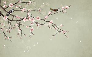 Ветки сакуры с птичками