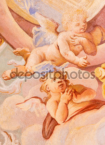 BANSKA STIAVNICA, SLOVAKIA - FEBRUARY 20, 2015: The detail of angels in fresco on cupola in the middle church of baroque calvary by Anton Schmidt from years 1745.