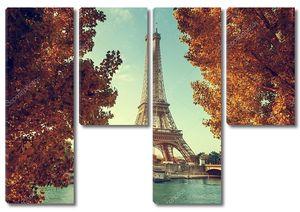 Сена в Париже с Эйфелевой башни в осеннее время
