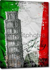 Пизанская башня и Колизей на фоне флага Италии