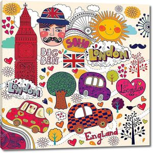 Коллаж из символов Англии