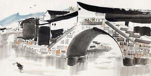 Китайский городок акварелью