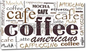Фон из надписей кофе