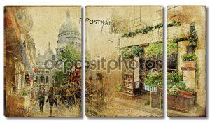Старинный Парижский карт серии - улице Монмартр