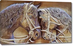 Головы двух лошадей
