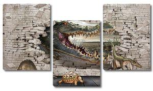 Пасть крокодила из стены