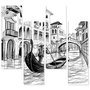 Гондоле в Венеции Векторный рисунок