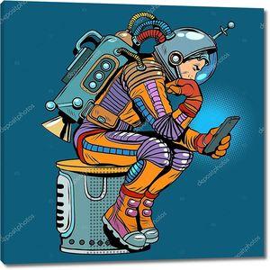 Ретро астронавт со смартфоном