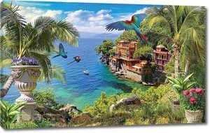 Средиземноморский пейзаж с попугаями