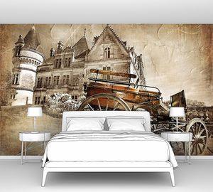 Средневековый замок с каретой - винтажная картина