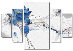 Голубые цветы на потрескавшемся мраморе