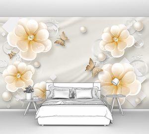 Цветы на атласе с жемчугом