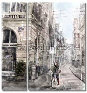 Иллюстрация улицы города. Девочка верхом на велосипеде. воды