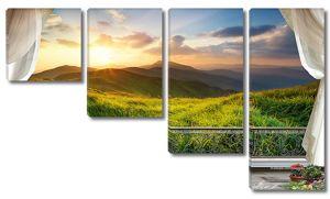 Закат в горах с террасы