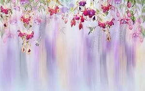 Колибри порхающие среди нежных цветов