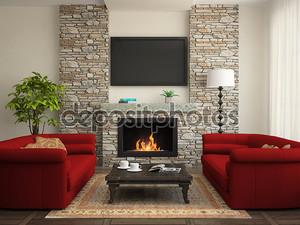 Современный интерьер с красной диванами и камином