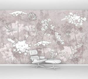 Графические полевые цветы на бетонной стене
