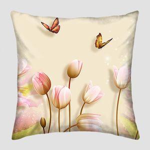 Розовые тюльпаны с бабочками