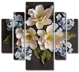 Белые цветы с гиацинтами