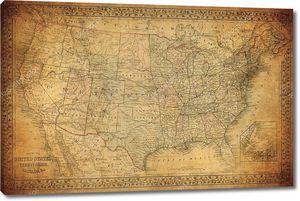 Винтаж карта Соединенных Штатов 1867