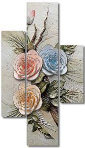 Три разноцветные розы