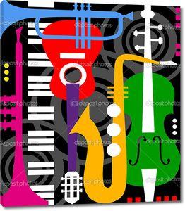 Музыкальные инструменты на черном