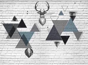 Оленья голова на кирпичной стене