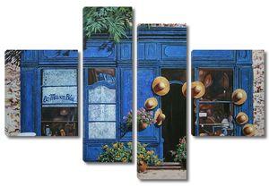Синяя витрина магазинчика