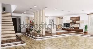 Интерьер квартиры Панорама 3d визуализации