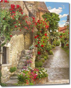 Яркие цветы на узкой улочке