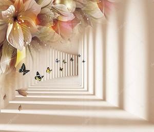 Коридор тени и света с лилиями